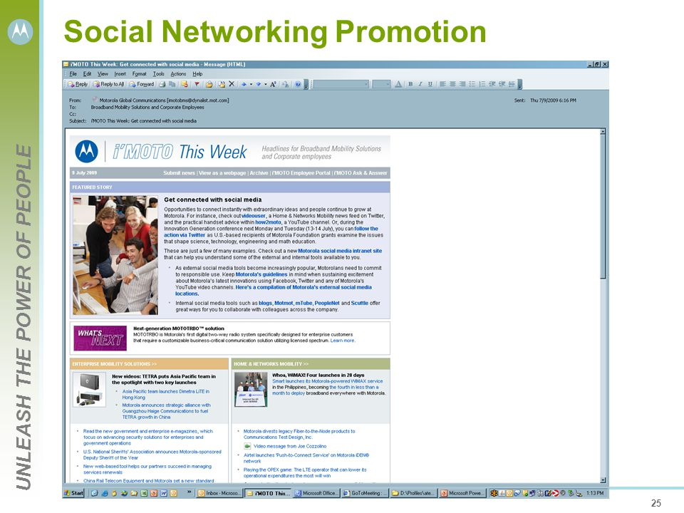 UNLEASH THE POWER OF PEOPLE 25 Social Networking Promotion
