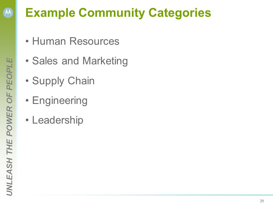 UNLEASH THE POWER OF PEOPLE 31 Example Community Categories Human Resources Sales and Marketing Supply Chain Engineering Leadership