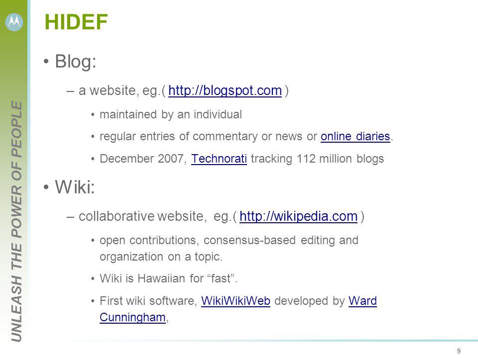 UNLEASH THE POWER OF PEOPLE 9 HIDEF Blog: –a website, eg.( http://blogspot.com )http://blogspot.com maintained by an individual regular entries of com