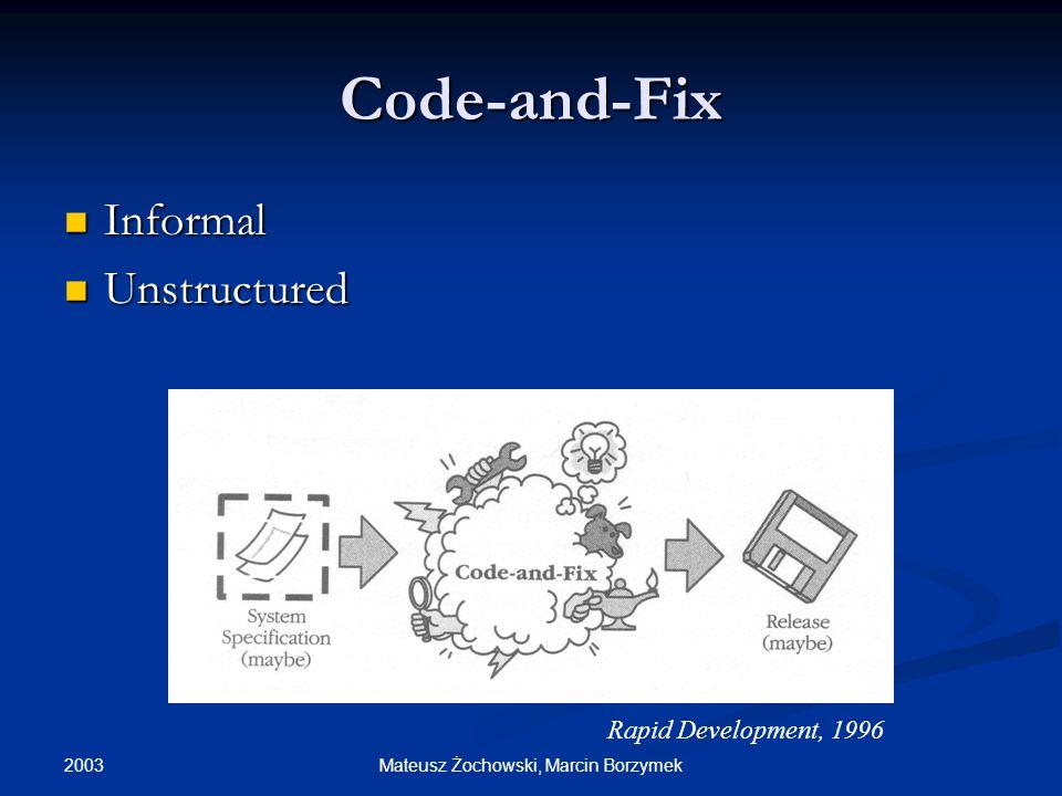 2003 Mateusz Żochowski, Marcin Borzymek Code-and-Fix Informal Informal Unstructured Unstructured Rapid Development, 1996