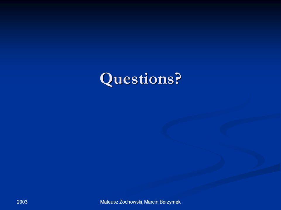 2003 Mateusz Żochowski, Marcin Borzymek Questions?