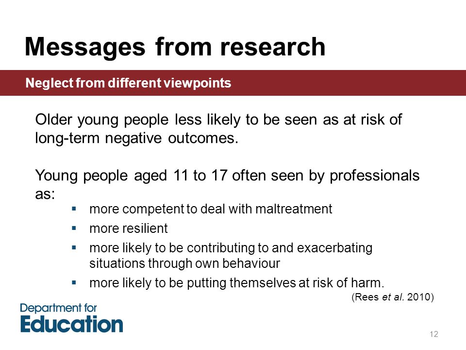 12 Older young people less likely to be seen as at risk of long-term negative outcomes.