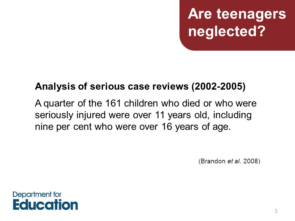 3 Analysis of serious case reviews (2002-2005) A quarter of the 161 children who died or who were seriously injured were over 11 years old, including nine per cent who were over 16 years of age.