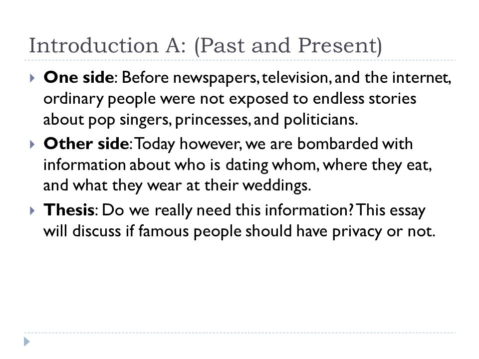Introduction B: (Two Opinions)  One side: Most ordinary people respect the rights of others to a private life.