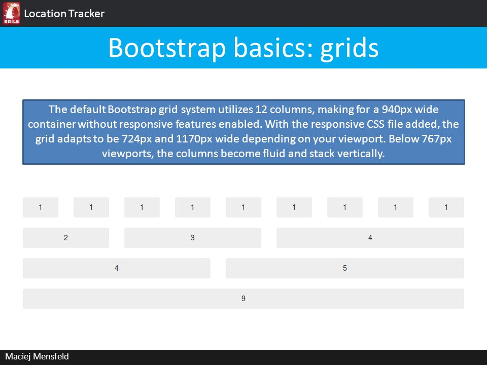 Location Tracker Maciej Mensfeld Bootstrap basics: grids The default Bootstrap grid system utilizes 12 columns, making for a 940px wide container without responsive features enabled.