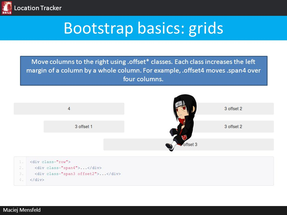 Location Tracker Maciej Mensfeld Bootstrap basics: grids Move columns to the right using.offset* classes.