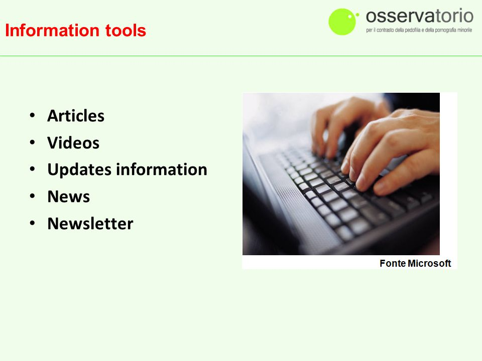 Information tools Articles Videos Updates information News Newsletter