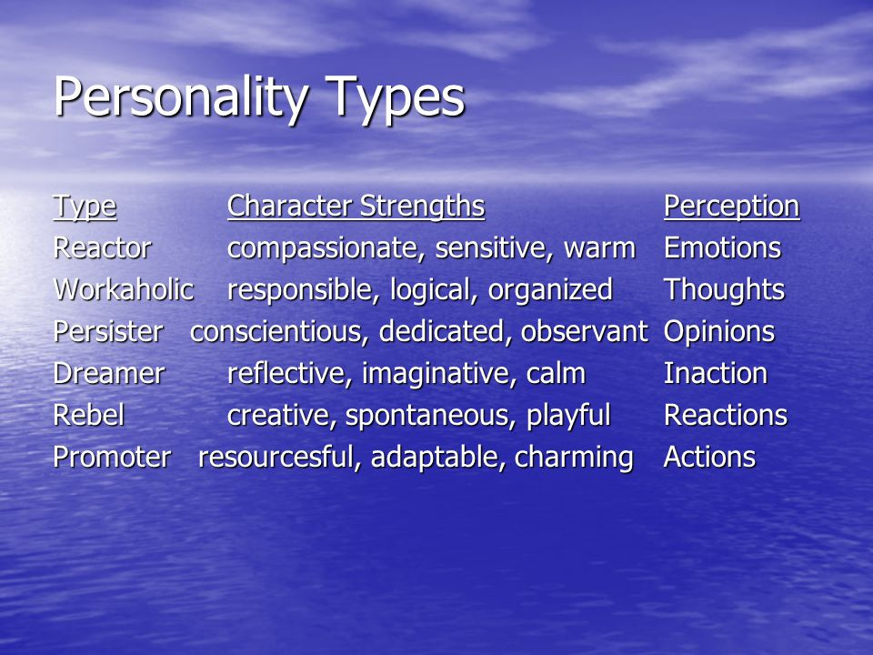 Personality Types TypeCharacter Strengths Perception Reactorcompassionate, sensitive, warmEmotions Workaholicresponsible, logical, organizedThoughts Persister conscientious, dedicated, observant Opinions Dreamerreflective, imaginative, calmInaction Rebelcreative, spontaneous, playfulReactions Promoter resourcesful, adaptable, charmingActions