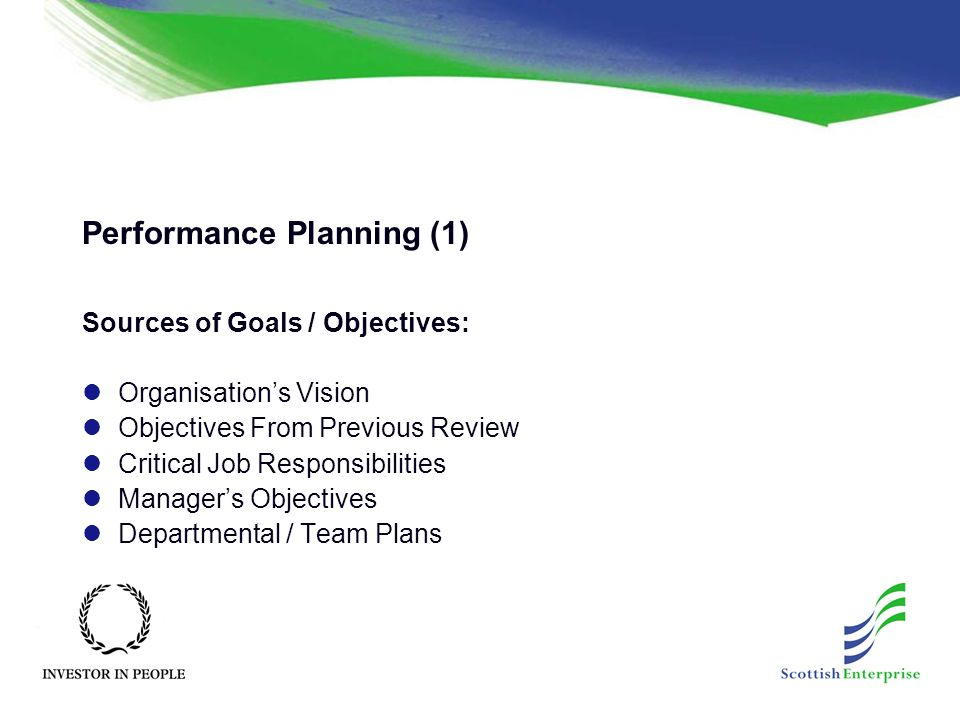 Performance Planning (1) Sources of Goals / Objectives: Organisation's Vision Objectives From Previous Review Critical Job Responsibilities Manager's Objectives Departmental / Team Plans