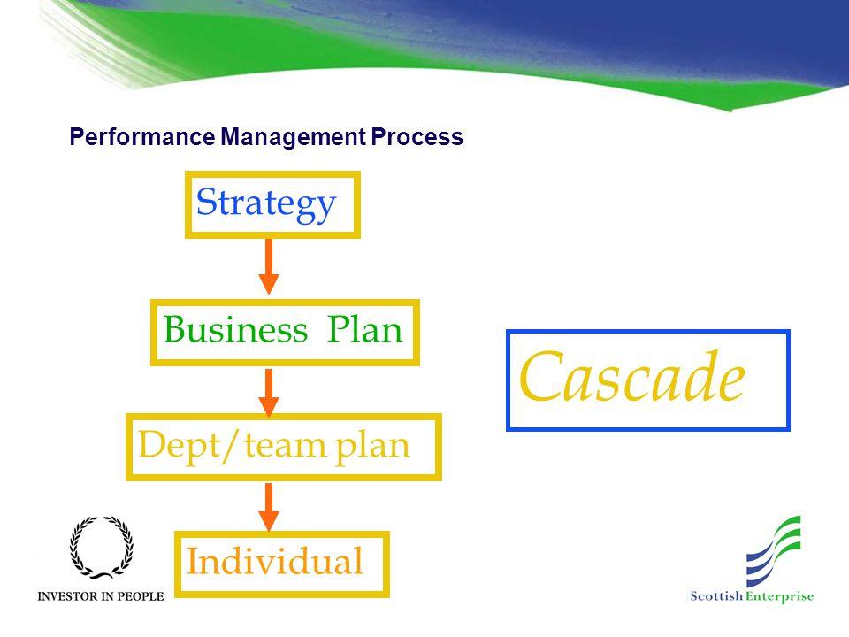 Performance Management Process Cascade Strategy Business Plan Dept/team plan Individual