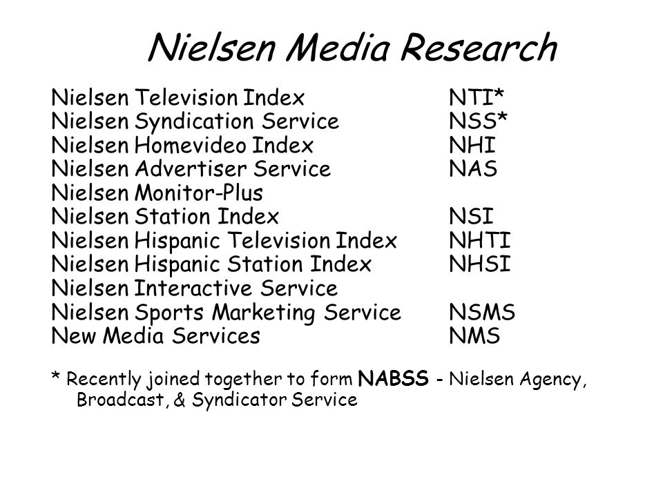 Nielsen Media Research Nielsen Television IndexNTI* Nielsen Syndication ServiceNSS* Nielsen Homevideo IndexNHI Nielsen Advertiser Service NAS Nielsen Monitor-Plus Nielsen Station IndexNSI Nielsen Hispanic Television IndexNHTI Nielsen Hispanic Station IndexNHSI Nielsen Interactive Service Nielsen Sports Marketing ServiceNSMS New Media ServicesNMS * Recently joined together to form NABSS - Nielsen Agency, Broadcast, & Syndicator Service