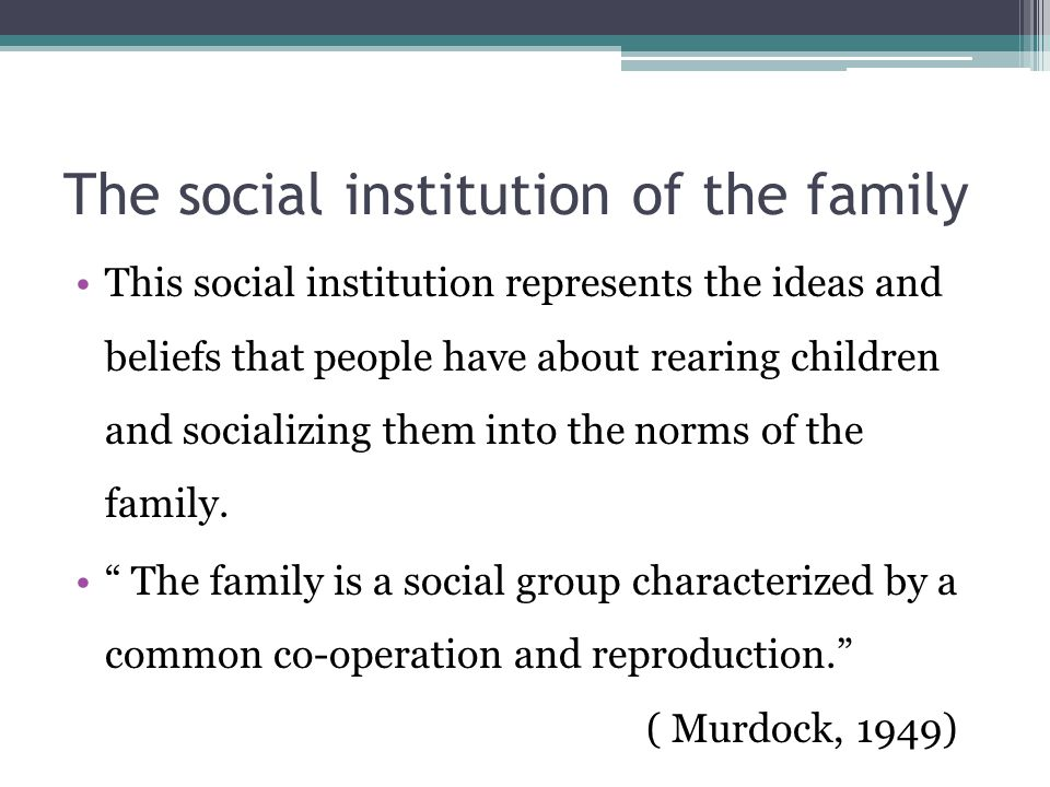 The social institution of the family This social institution represents the ideas and beliefs that people have about rearing children and socializing them into the norms of the family.