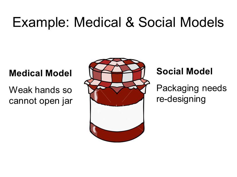 Medical Model Weak hands so cannot open jar Social Model Packaging needs re-designing Example: Medical & Social Models
