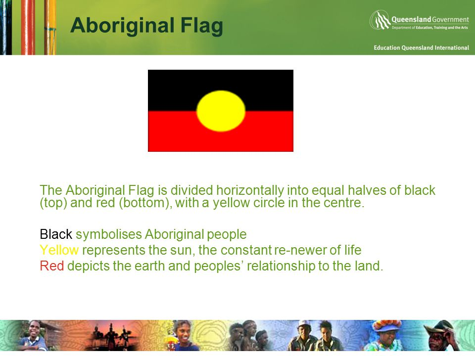 Aboriginal Flag  The Aboriginal Flag is divided horizontally into equal halves of black (top) and red (bottom), with a yellow circle in the centre.