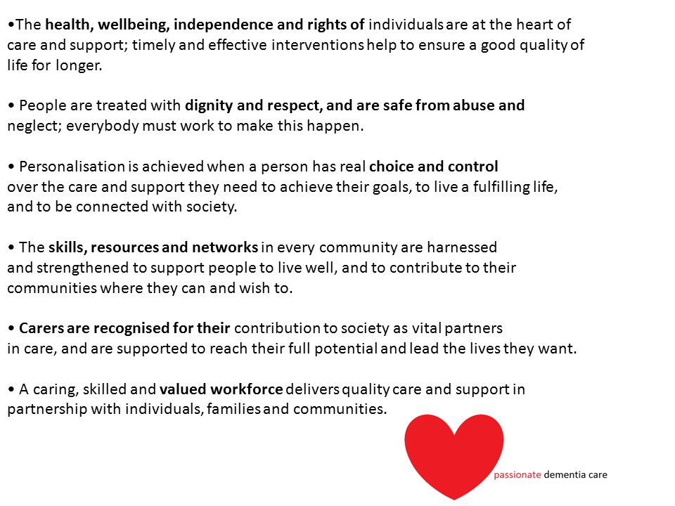 The health, wellbeing, independence and rights of individuals are at the heart of care and support; timely and effective interventions help to ensure