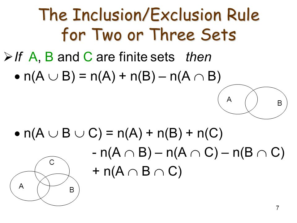7 The Inclusion/Exclusion Rule for Two or Three Sets  If A, B and C are finite sets then  n(A  B) = n(A) + n(B) – n(A  B)  n(A  B  C) = n(A) + n(B) + n(C) - n(A  B) – n(A  C) – n(B  C) + n(A  B  C) A B C A B