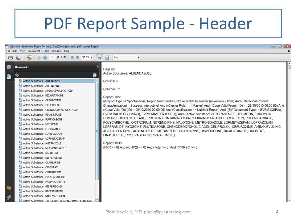 PRR Monitor (CHI^2) report Bold lines represent the thresholds of PRR =2 and chi^2 = 4 Piotr Nowicki, MD pnow@pragmalog.com15