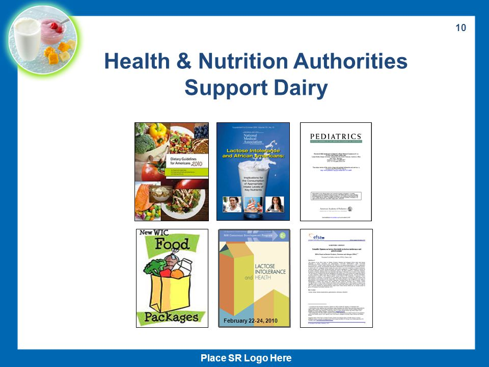 10 Health & Nutrition Authorities Support Dairy Place SR Logo Here February 22-24, 2010