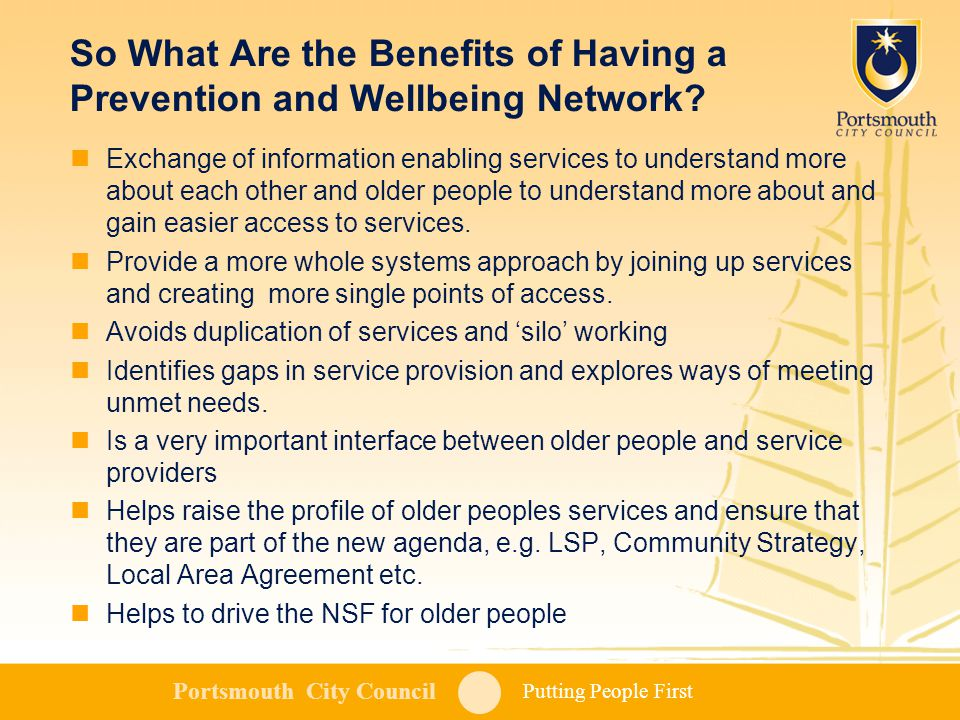 Putting People First Portsmouth City Council So What Are the Benefits of Having a Prevention and Wellbeing Network.
