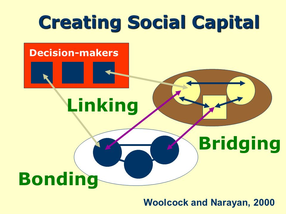 Bonding Bridging Linking Decision-makers Creating Social Capital Woolcock and Narayan, 2000
