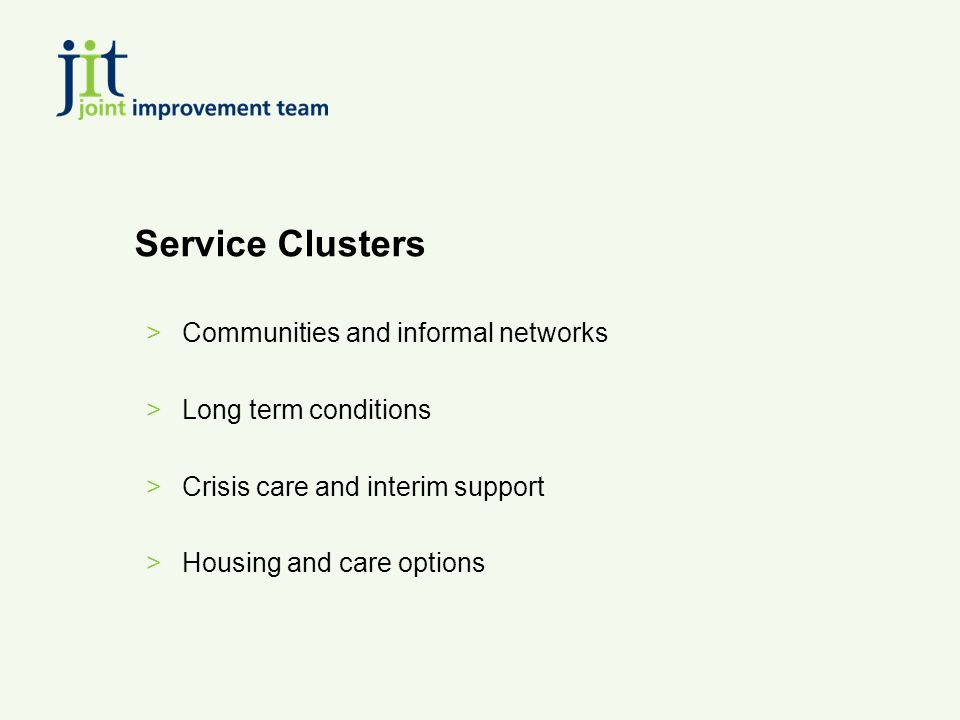 Service Clusters >Communities and informal networks >Long term conditions >Crisis care and interim support >Housing and care options