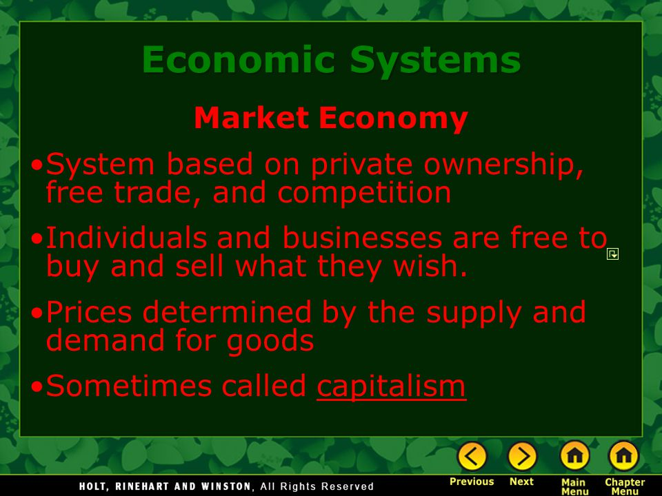 Market Economy System based on private ownership, free trade, and competition Individuals and businesses are free to buy and sell what they wish. Pric