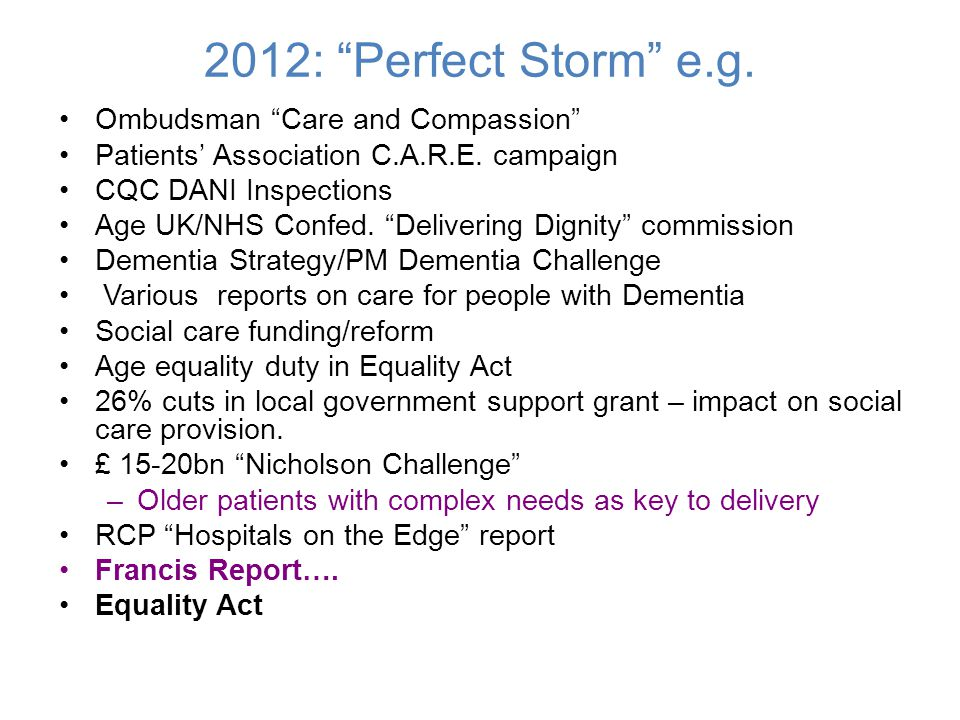 "2012: ""Perfect Storm"" e.g. Ombudsman ""Care and Compassion"" Patients' Association C.A.R.E. campaign CQC DANI Inspections Age UK/NHS Confed. ""Delivering"