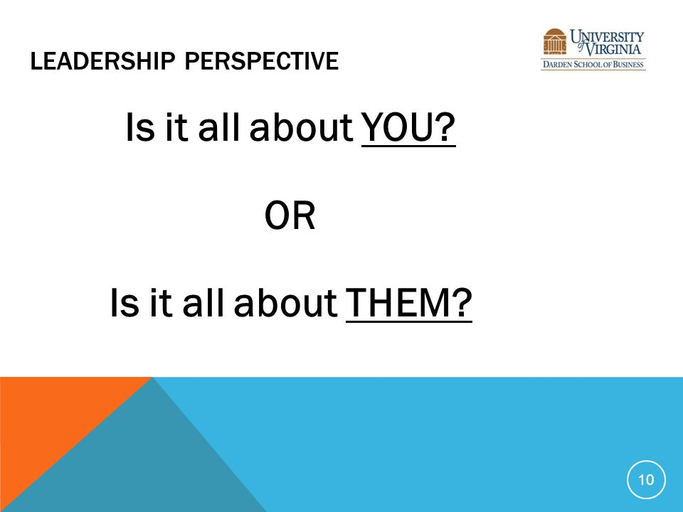 LEADERSHIP PERSPECTIVE Is it all about YOU? OR Is it all about THEM? 10