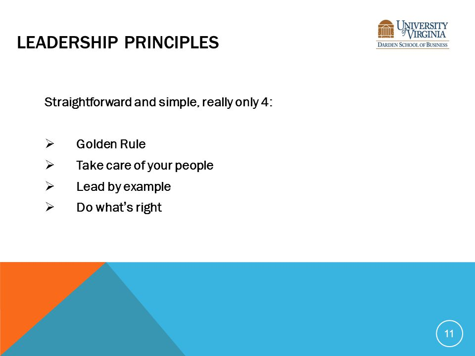 LEADERSHIP PRINCIPLES Straightforward and simple, really only 4:  Golden Rule  Take care of your people  Lead by example  Do what's right 11