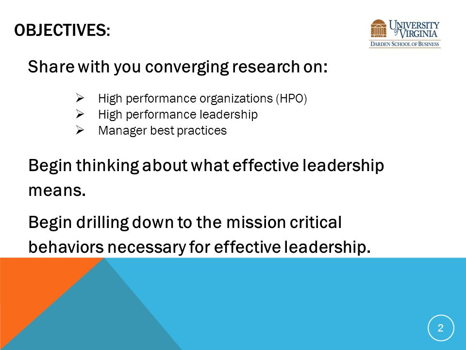 OBJECTIVES: Share with you converging research on:  High performance organizations (HPO)  High performance leadership  Manager best practices Begin thinking about what effective leadership means.