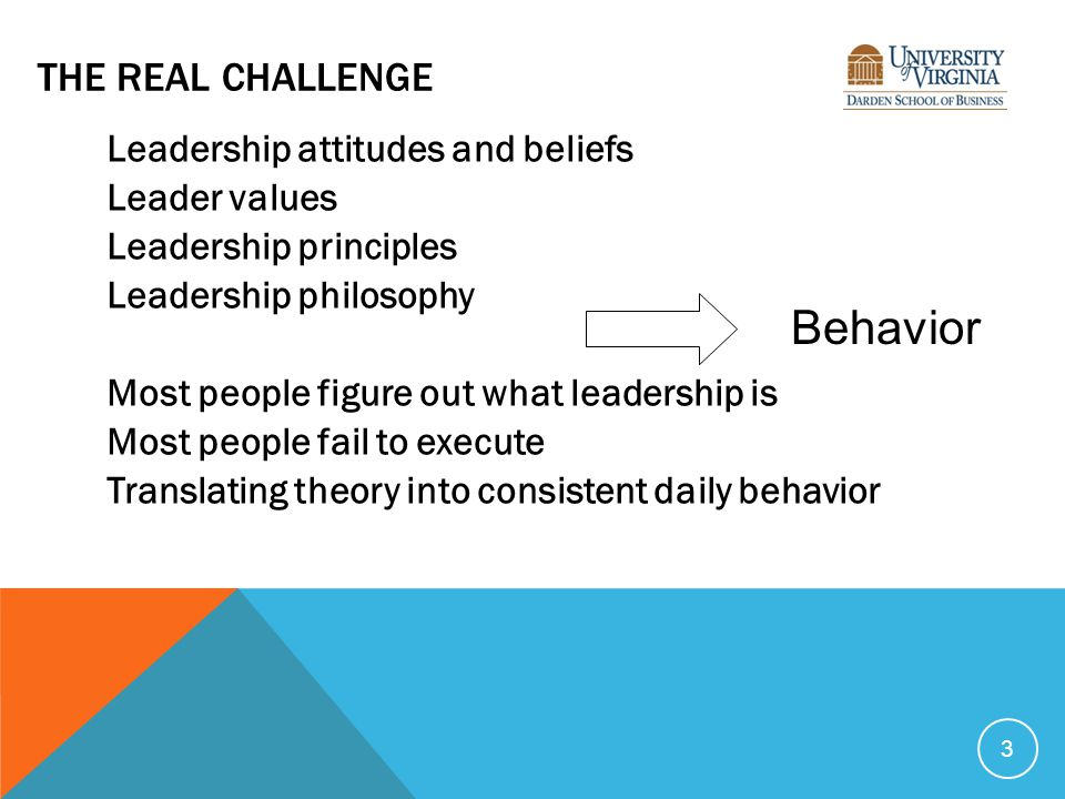 THE REAL CHALLENGE Leadership attitudes and beliefs Leader values Leadership principles Leadership philosophy Most people figure out what leadership is Most people fail to execute Translating theory into consistent daily behavior 3 Behavior