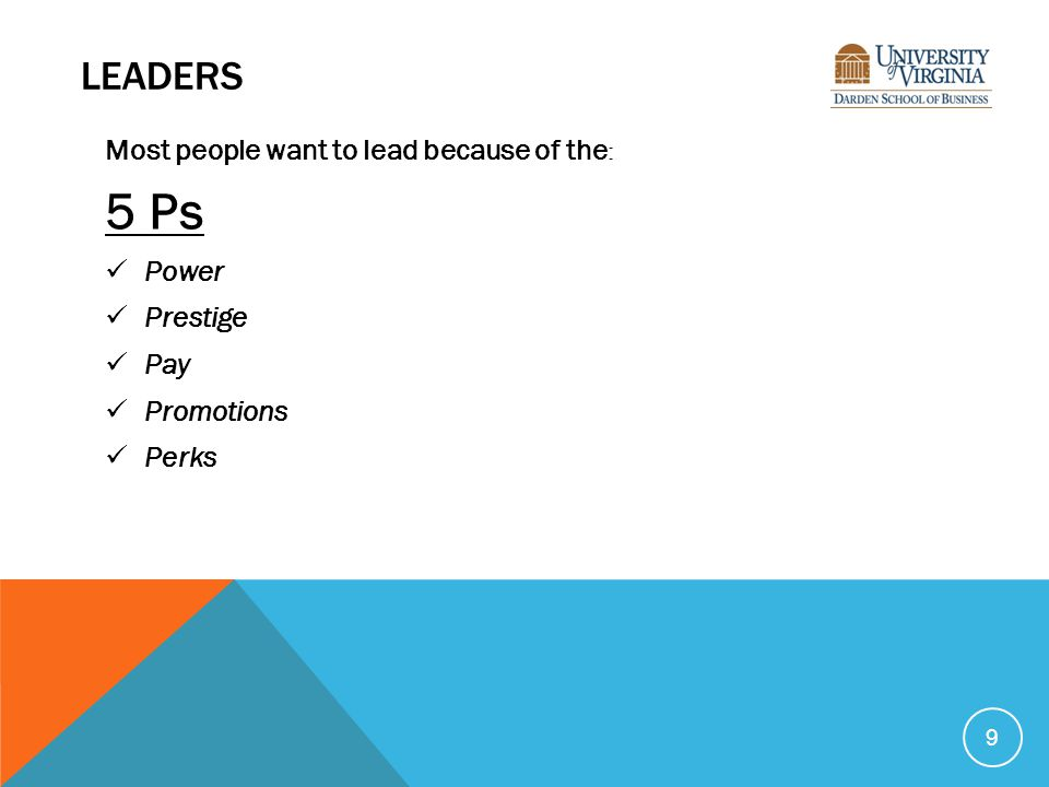 LEADERS Most people want to lead because of the : 5 Ps Power Prestige Pay Promotions Perks 9