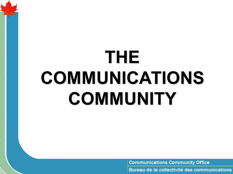 Communicators profile Newfoundland 29 PEI 44 New Brunswick 50 Quebec (-NCR) 179 NCR QC 569 Ontario (-NCR) 127 NCR ON 1718 Manitoba 80 Saskatchewan 34 Alberta 52 British Columbia 97 Yukon 4 Northwest Territories 15 Nunavut 6 Outside Canada 3 Nova Scotia 64 3,071 Total: