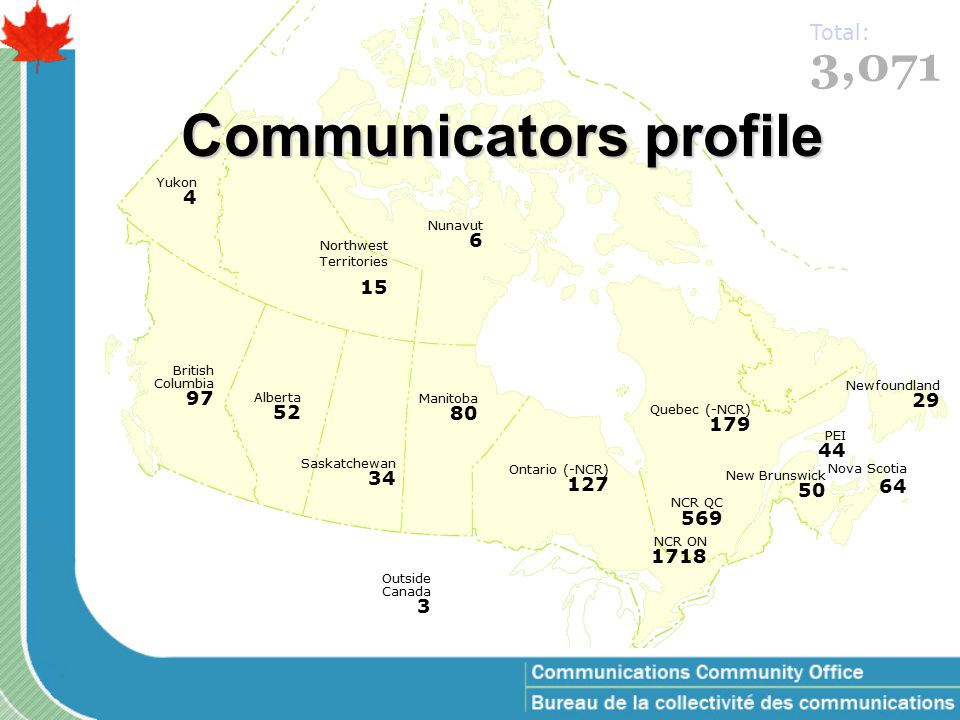 Communicators profile Newfoundland 29 PEI 44 New Brunswick 50 Quebec (-NCR) 179 NCR QC 569 Ontario (-NCR) 127 NCR ON 1718 Manitoba 80 Saskatchewan 34 Alberta 52 British Columbia 97 Yukon 4 Northwest Territories 15 Nunavut 6 Outside Canada 3 Nova Scotia 64 3,071 Total: