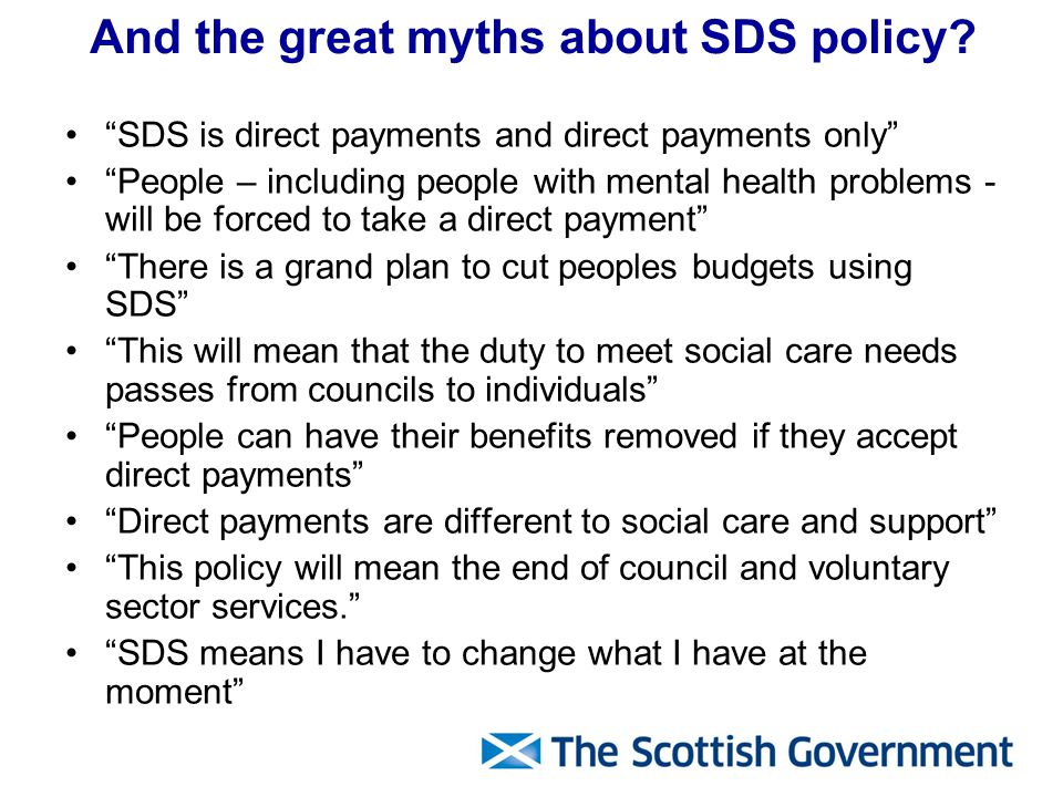 And the great myths about SDS policy.