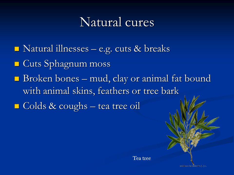 Natural cures Natural illnesses – e.g. cuts & breaks Natural illnesses – e.g.