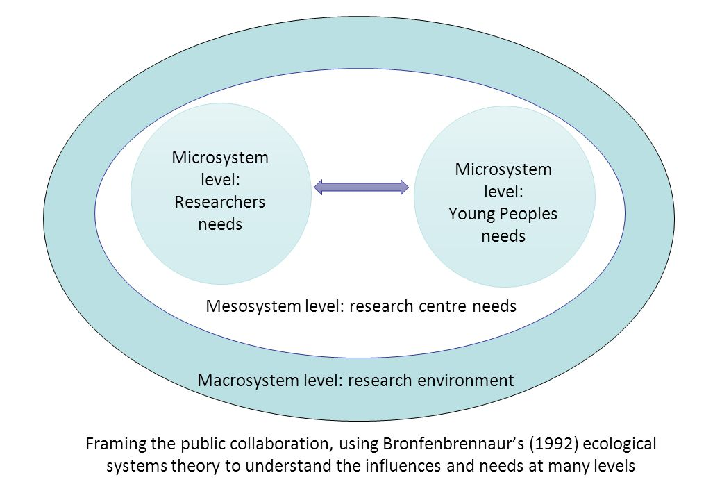 Microsystem level: Researchers needs Microsystem level: Young Peoples needs Mesosystem level: research centre needs Macrosystem level: research environment Framing the public collaboration, using Bronfenbrennaur's (1992) ecological systems theory to understand the influences and needs at many levels