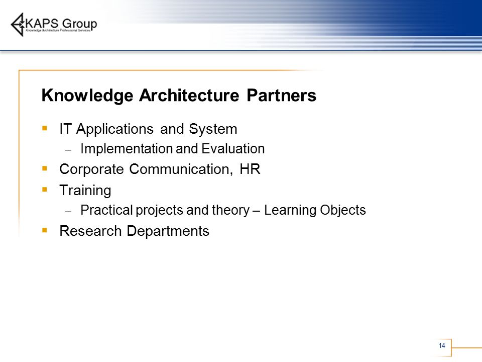 14 Knowledge Architecture Partners  IT Applications and System – Implementation and Evaluation  Corporate Communication, HR  Training – Practical projects and theory – Learning Objects  Research Departments