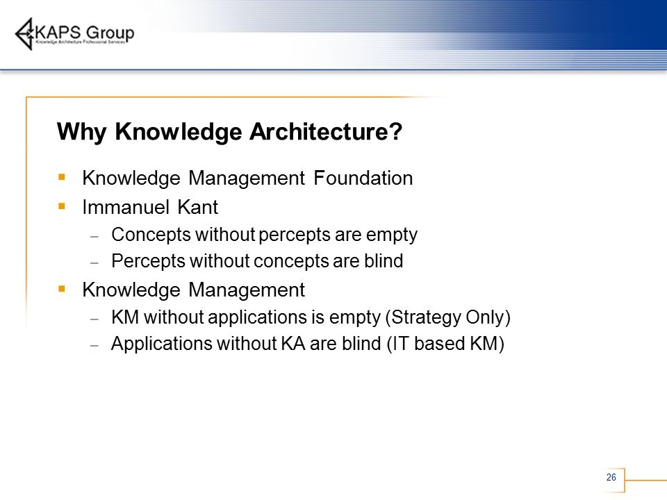 26 Why Knowledge Architecture.