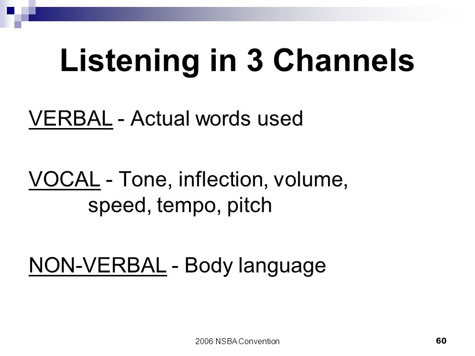 2006 NSBA Convention60 Listening in 3 Channels VERBAL - Actual words used VOCAL - Tone, inflection, volume, speed, tempo, pitch NON-VERBAL - Body lang