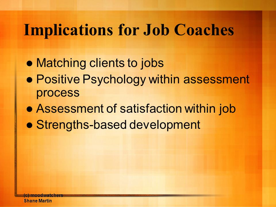 (c) moodwatchers Shane Martin Implications for Job Coaches Matching clients to jobs Positive Psychology within assessment process Assessment of satisf
