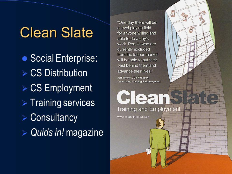 Clean Slate Social Enterprise:  CS Distribution  CS Employment  Training services  Consultancy  Quids in! magazine