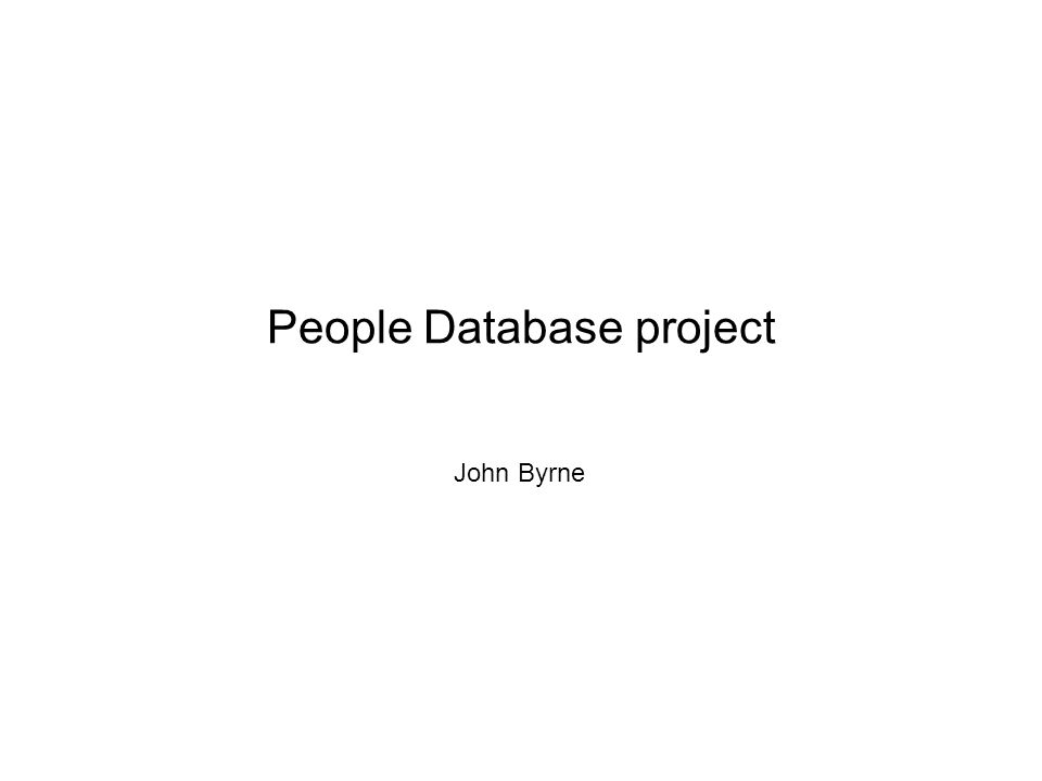 People Database project John Byrne