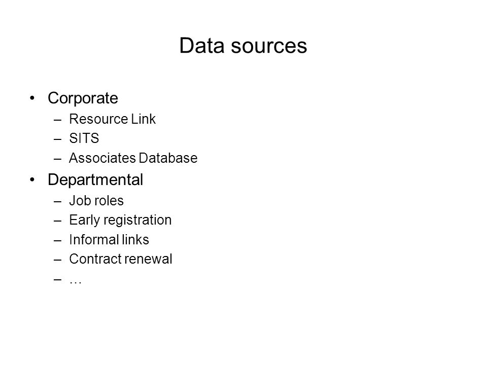 Data sources Corporate –Resource Link –SITS –Associates Database Departmental –Job roles –Early registration –Informal links –Contract renewal –…