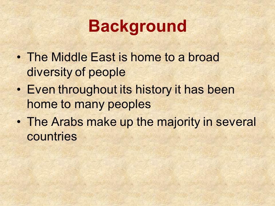 Background The Middle East is home to a broad diversity of people Even throughout its history it has been home to many peoples The Arabs make up the majority in several countries