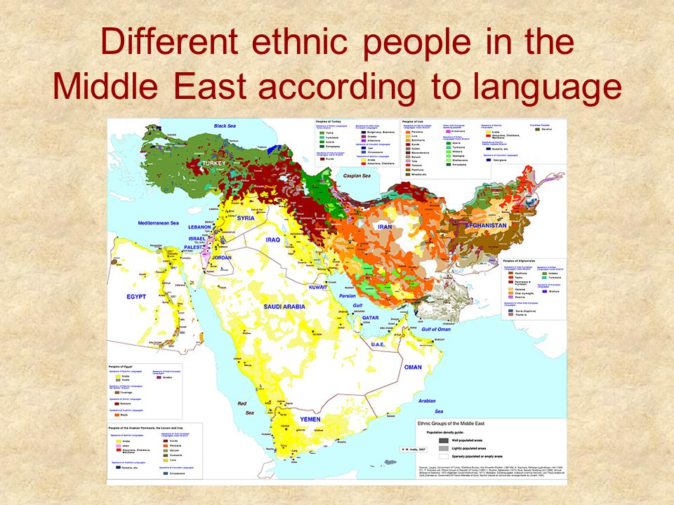 Different ethnic people in the Middle East according to language