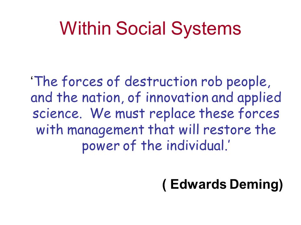 Within Social Systems ' The forces of destruction rob people, and the nation, of innovation and applied science.