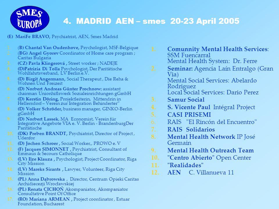 (E) MariFe BRAVO, Psychiatrist, AEN, Smes Madrid 1.(B) Chantal Van Oudenhove, Psychologist, MSF-Belgique 2.(BG) Angel Gyorev Coordinator of Home care
