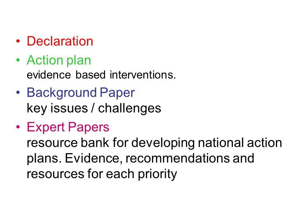 Mental Health Programme Declaration Action plan evidence based interventions.
