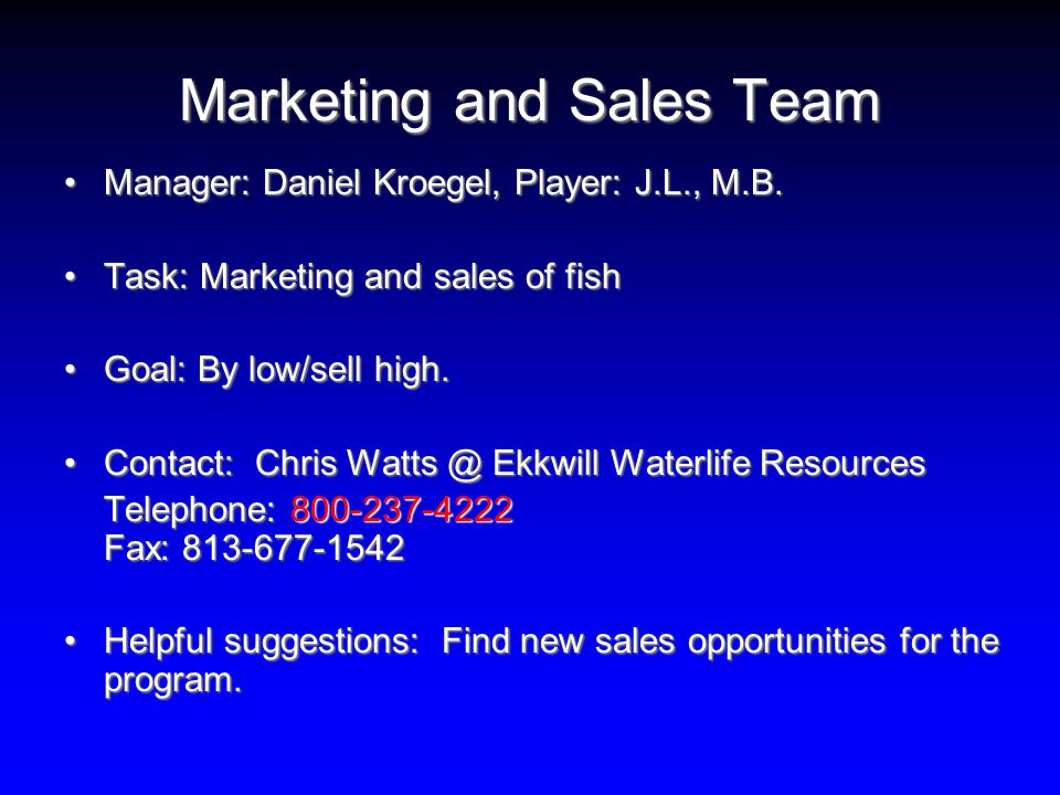 Marketing and Sales Team Manager: Daniel Kroegel, Player: J.L., M.B.Manager: Daniel Kroegel, Player: J.L., M.B.